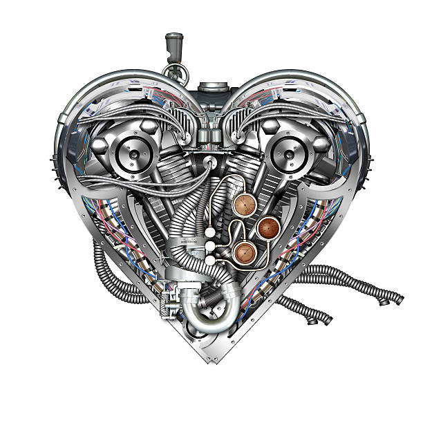 technically mechanical heart stock photo