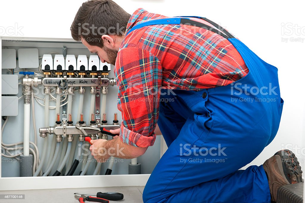 Technician at the work stock photo