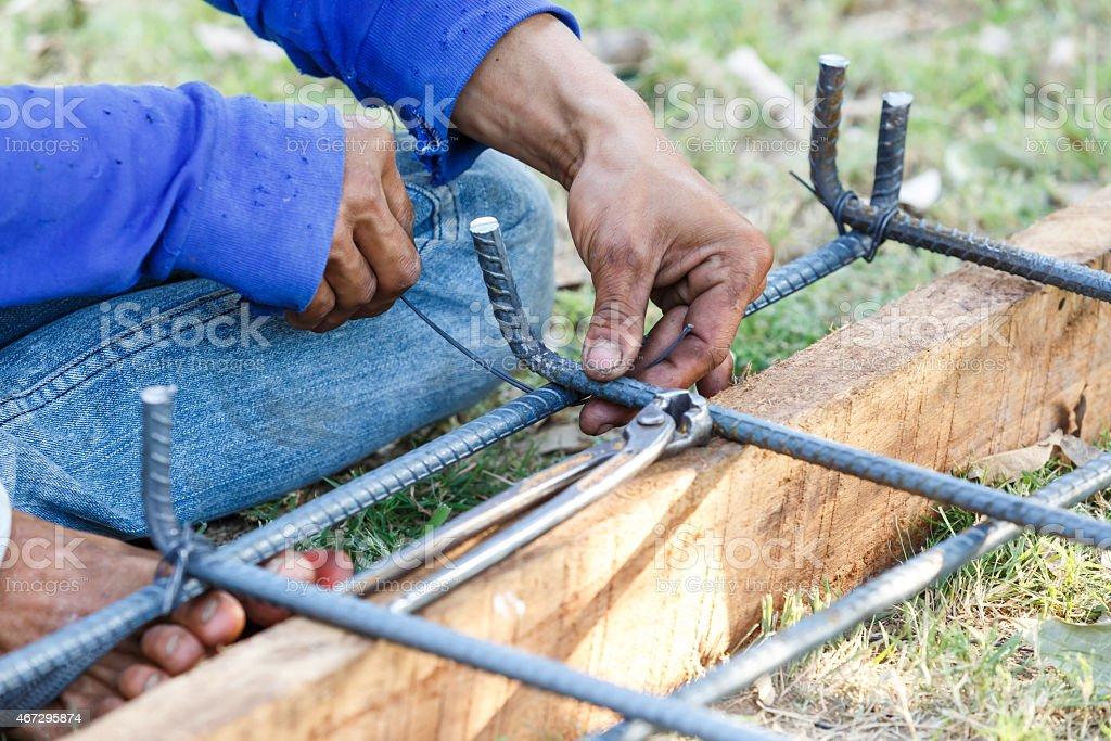 Technician Bundle Wire Steel Rod For Construction Job Stock Photo ...
