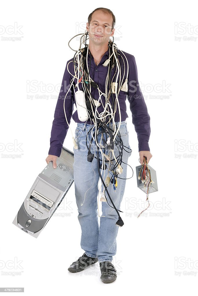 technician carrying computer royalty-free stock photo