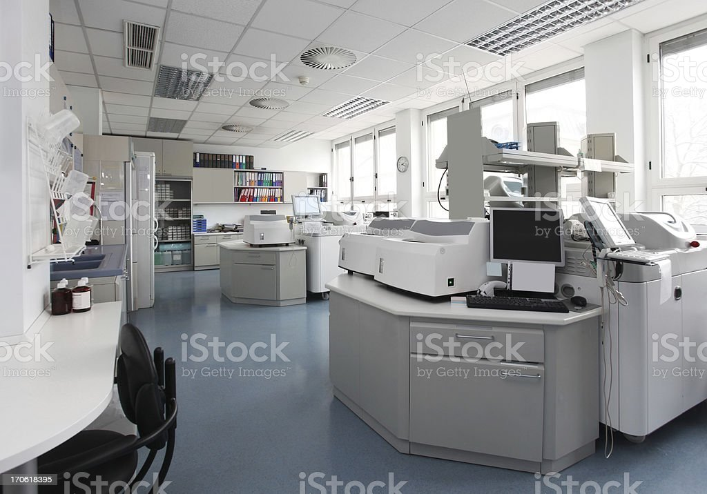 Technician in laboratory of blood bank stock photo