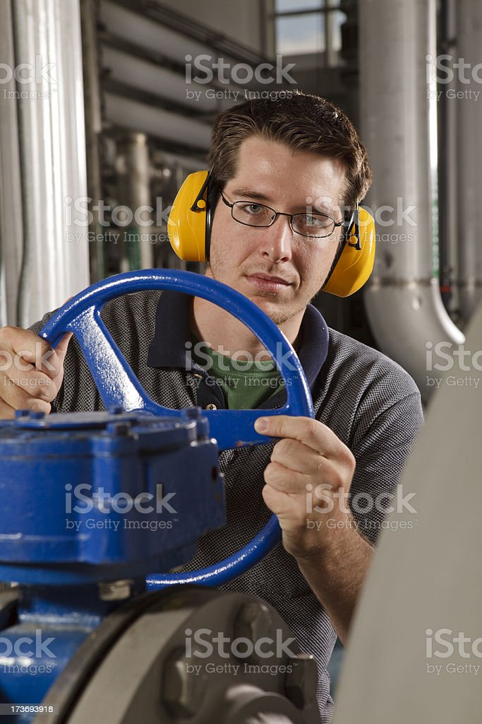 Technician in Reverse Osmosis Water Purification Plant royalty-free stock photo
