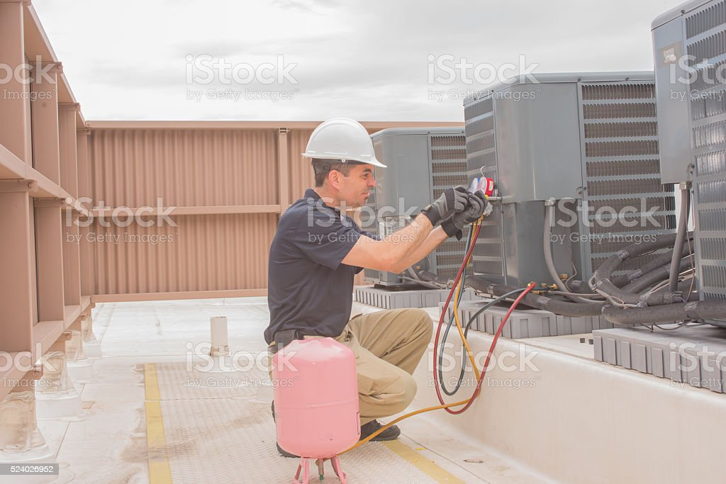 HVAC Technician Maintenance stock photo