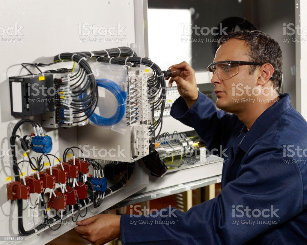 technician on duty stock photo