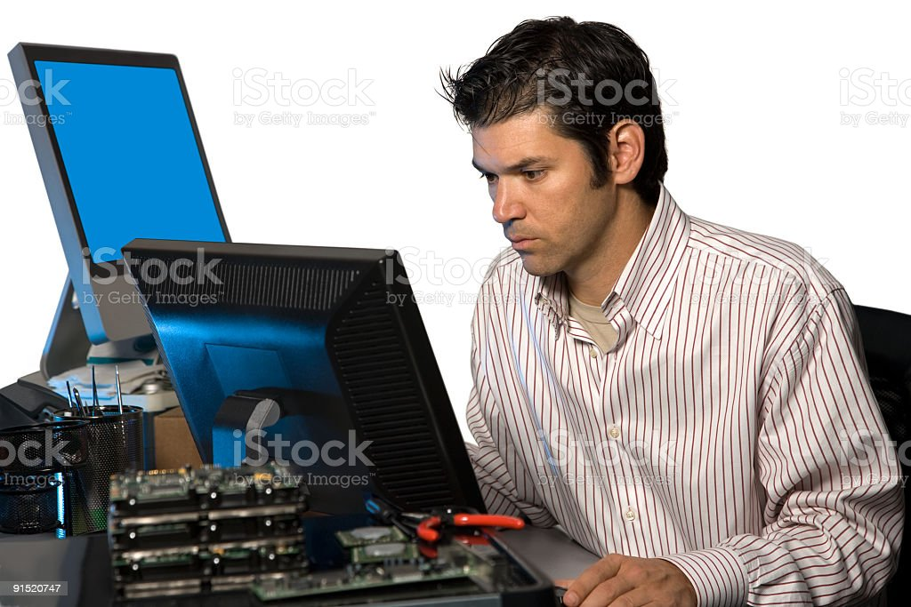 IT Technician Working at Computer Terminal Isolated on White royalty-free stock photo