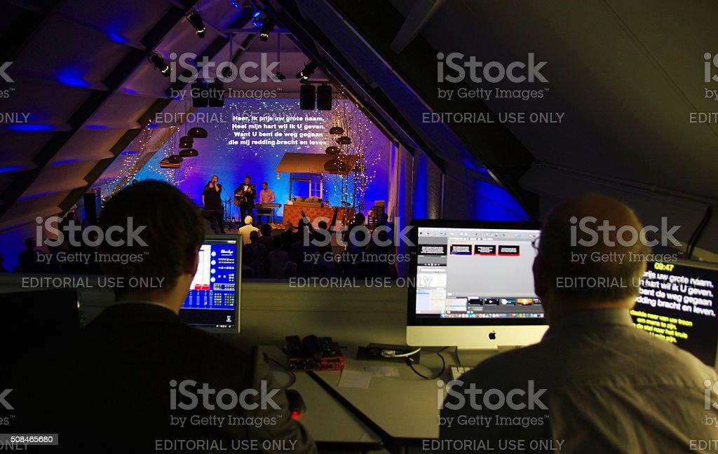 Technicians controlling the concert stock photo