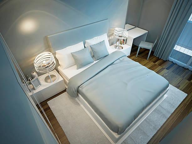 techno hotelzimmer trend - teppich hellblau stock-fotos und bilder