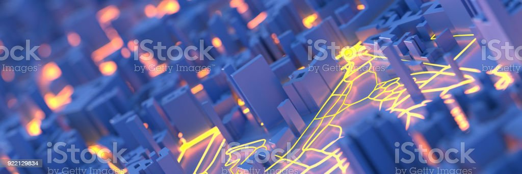 Techno mega city; urban and futuristic technology concepts, original 3d rendering stock photo
