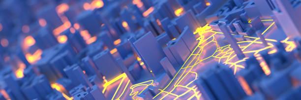 Techno mega city; urban and futuristic technology concepts, original 3d rendering stock photo