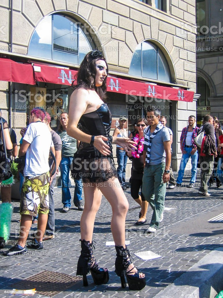 ef7b5830605 Techno Parade With Transgender Drag Queen Woman In High Heels Stock Photo -  Download Image Now