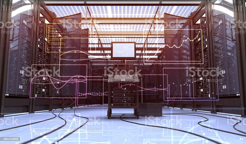 Techno room stock photo
