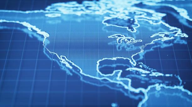 mapa del mundo tecnológico - estados unidos - us map fotografías e imágenes de stock