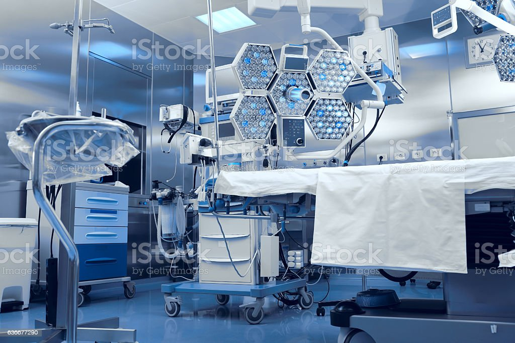 Technological advanced equipment in clinical operating room stock photo