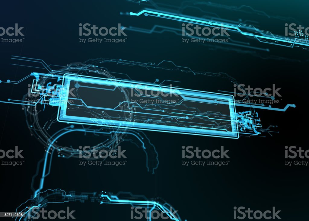 Technological background of futuristic lines and elements. stock photo