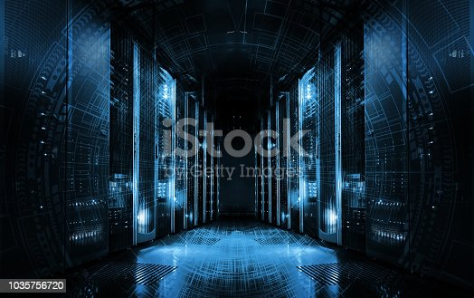istock technological background on servers in data center, futuristic design. Server room represented by several server racks with strong dramatic light. 1035756720