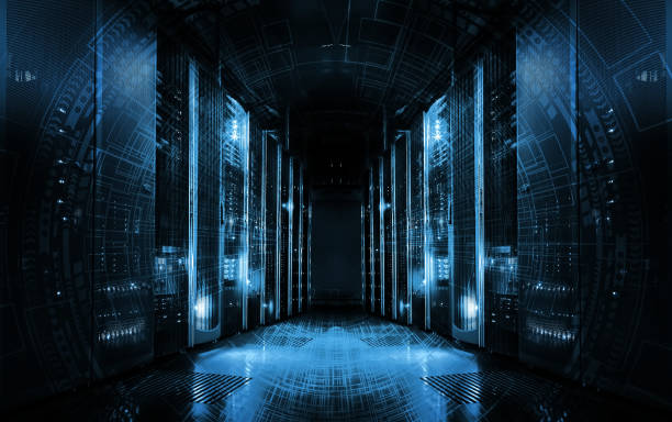 technological background on servers in data center, futuristic design. server room represented by several server racks with strong dramatic light. - mainframe stock pictures, royalty-free photos & images