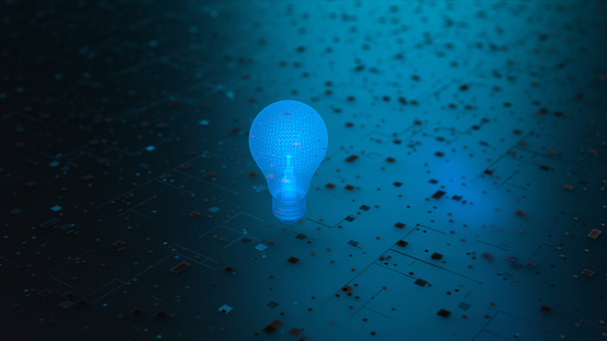 Technological Background With a Lamp in the Center, Technological Ideas, Innovation