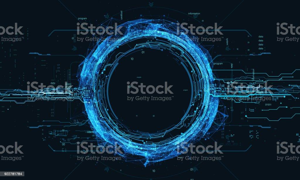 Contexte technologique avec la monnaie crypto bitcoin - Photo