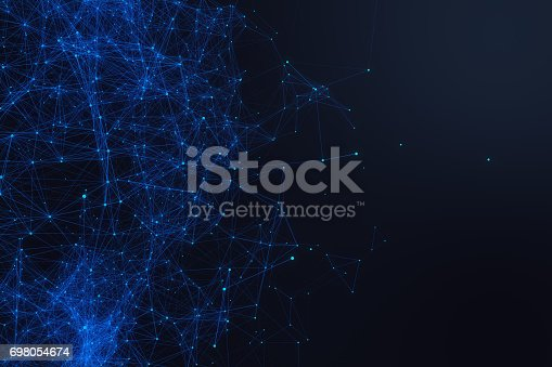 1195482922istockphoto Technological connection futuristic shape, blue dot network, abstract background, blue background, Concept of Network, internet communication 3D rendering 698054674