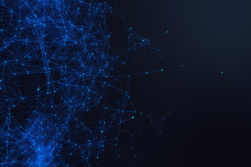 istock Technological connection futuristic shape, blue dot network, abstract background, blue background, Concept of Network, internet communication 3D rendering 698054674