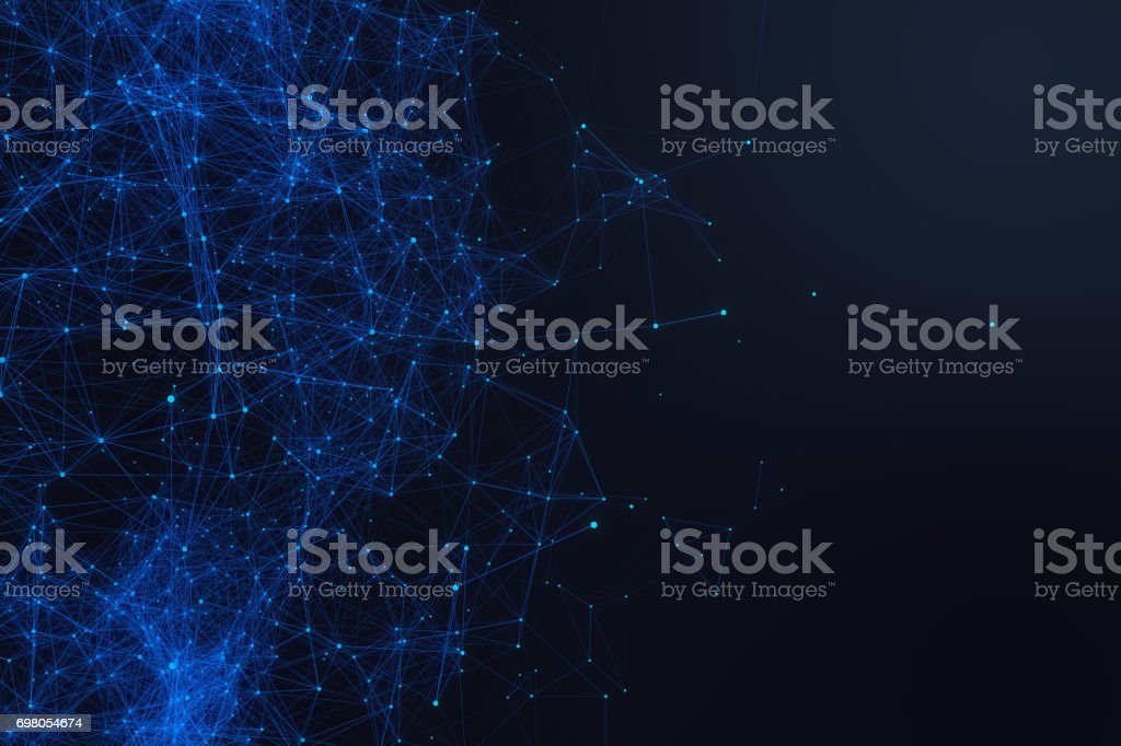 Technological connection futuristic shape, blue dot network, abstract background, blue background, Concept of Network, internet communication 3D rendering stock photo