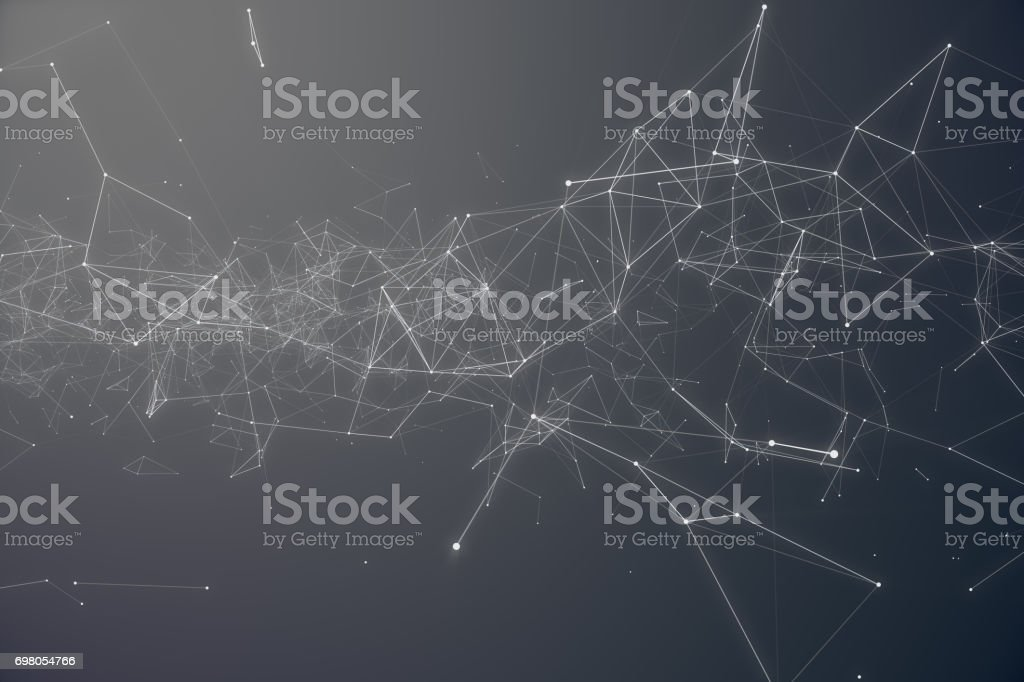 Technological Connection Futuristic Shape. Gray Dot Network. Abstract background, Gray Background. Concept of Network Internet Internet Security 3D rendering stock photo