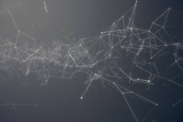 technological connection futuristic shape. gray dot network. abstract background, gray background. concept of network internet internet security 3d rendering - connect the dots stock photos and pictures