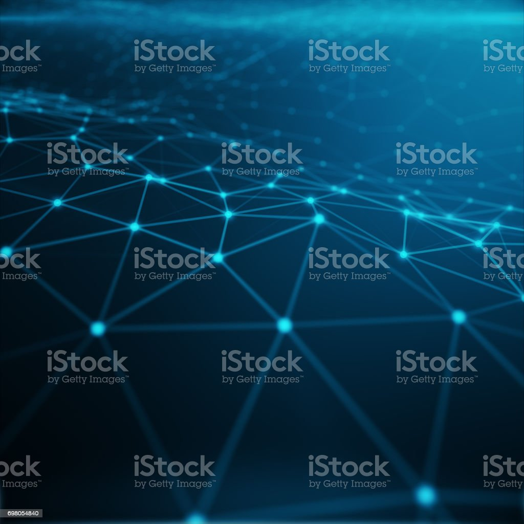 Technological connection in cloud computer, blue dot network, abstract background, Concept of Network Representing Internet Connections, 3D rendering stock photo