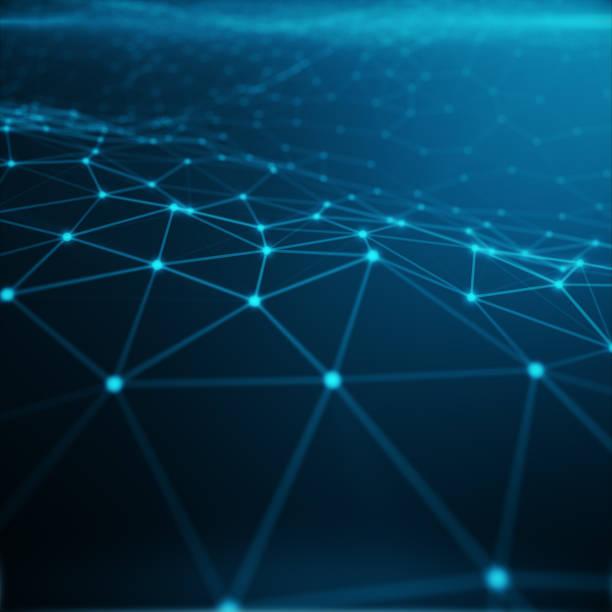 technologische verbindung in cloud computer, blauer punkt netzwerk abstrakt 3d rendering im hintergrund, konzept der vertretung internet netzwerkverbindungen, - datenknoten stock-fotos und bilder