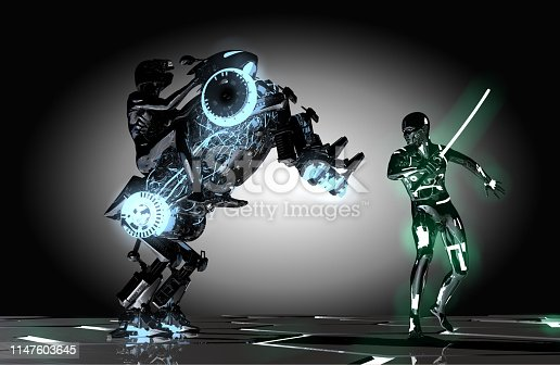 New military technologies. Mechanic robot vs humanoid cyborg. War scene from a new generation video game. Futuristic gladiators on the set.