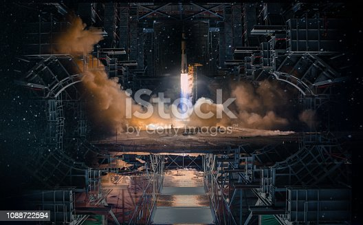 Technological futuristic design in open space and missile launch.The elements of this image furnished by NASA.