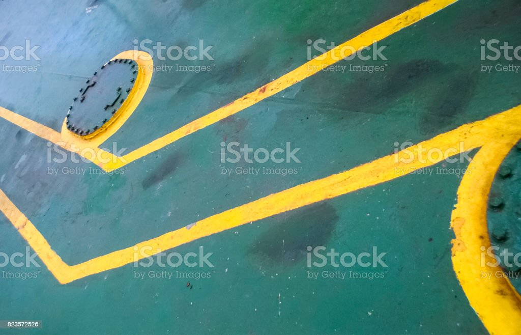 Technological hatch on the deck of the ship. Service inputs. stock photo