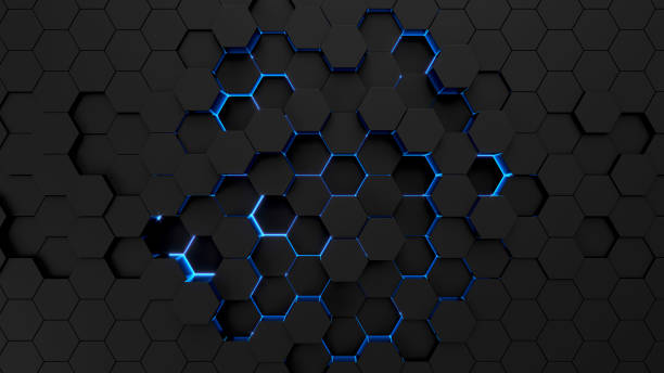 Technological hexagonal background with blue neon illumination Abstract technological hexagonal neon background. 3d rendering hexagon stock pictures, royalty-free photos & images