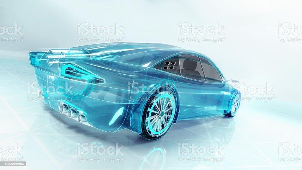 estudio tecnológico del nuevo coche futurista foto de stock libre de derechos