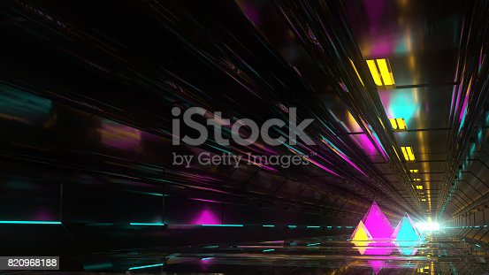 Technological tunnel with pyramids. Background color. 3D rendering. 3D illustration. Retro futuristic
