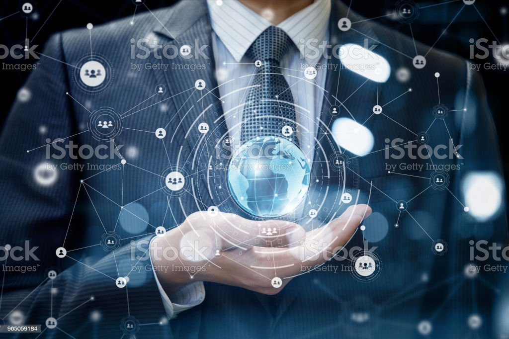 Technologies connecting the world in hand businessman . royalty-free stock photo