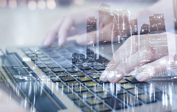 technologies, double exposure - new world stockfoto's en -beelden