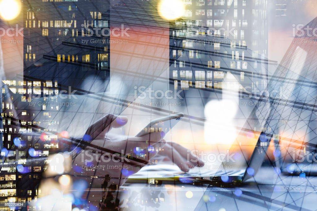Tecnologias, dupla exposição - foto de acervo