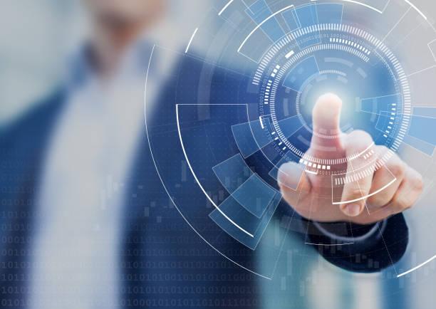 antecedentes de la tecnología con la mano de la persona contacto complejo diagrama circular de la pantalla virtual con espacio de copia, innovación, redes, grandes datos y concepto de internet - física fotografías e imágenes de stock