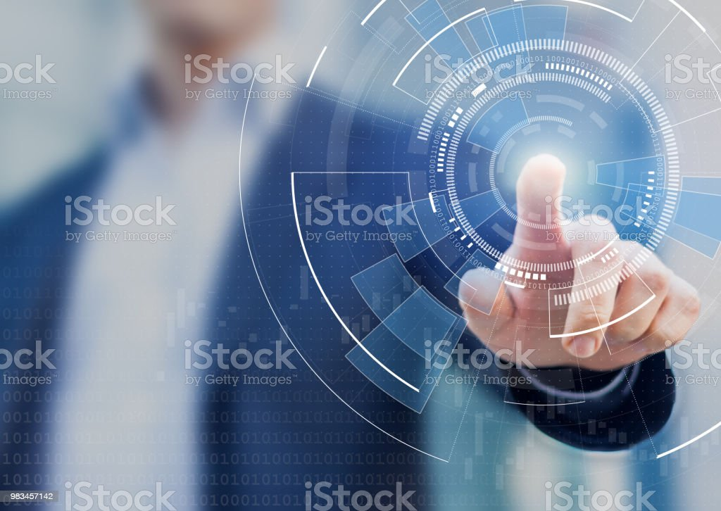 Technology abstract background with person hand touching complex circular diagram on virtual screen with copy-space, innovation, network, big data and internet concept stock photo