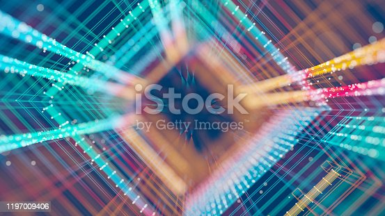 Abstract colorful grid in motion