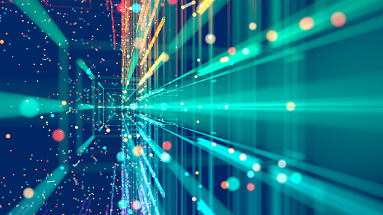 Abstract colorful grid surrounded by glowing particles