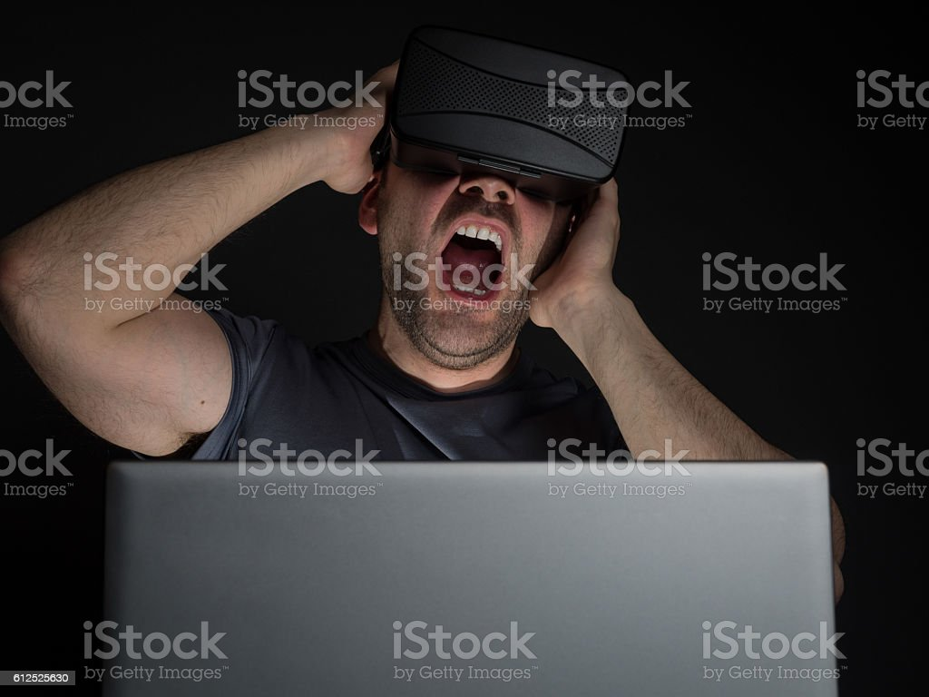 Technology addiction and mental disorders stock photo