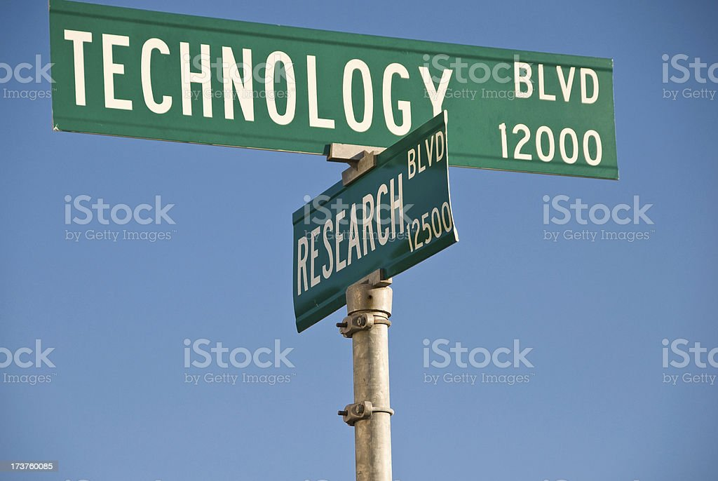 Technology & Research Boulevard Signs royalty-free stock photo