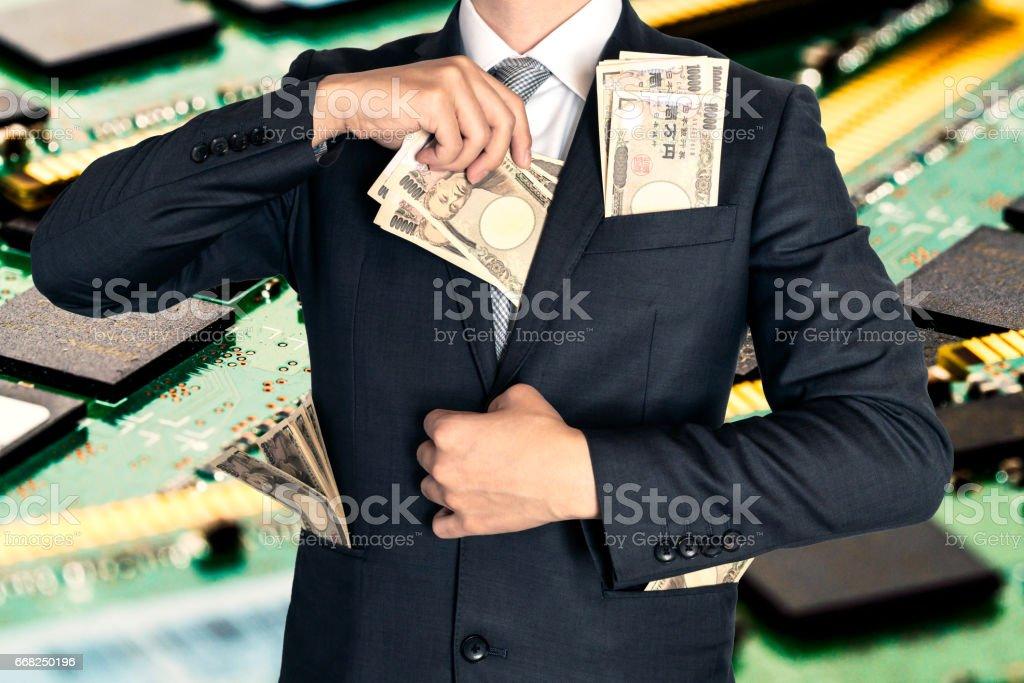 Technology and big money stock photo