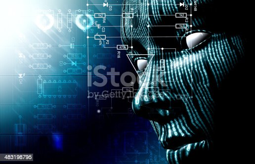 Background with binary code and face. Background of technology and face