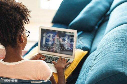 Sofa, Brazil, Teenage Girls, Laptop, Curly Hair