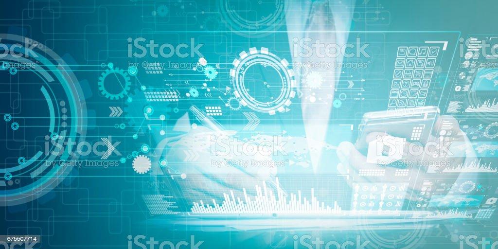Technologie multi média concept et mixte d'homme de fond et entreprises de technologie photo libre de droits