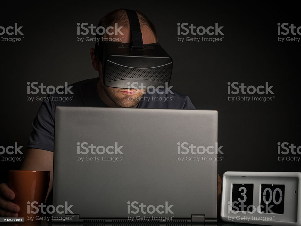 Technology and virtual reality addiction at home stock photo