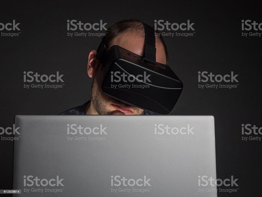 Technology and virtual reality addiction stock photo